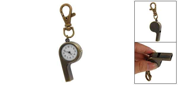 Bronze Tone Metal Whistle Pendant Key Ring Quartz Watch