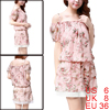 Women Elastic Waist Tiered Chiffon Floral Mini Dress Pink S