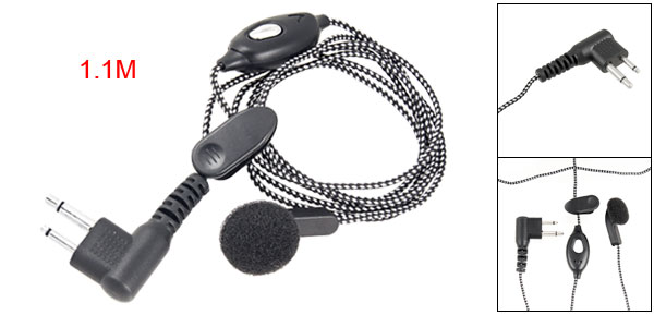 Black White Woven Cord 2 Pin Earphone w Microphone for Motorola Radios