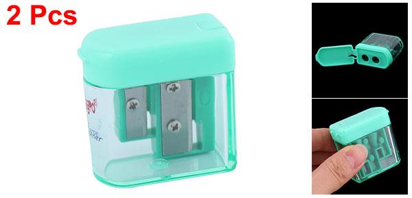 2Pcs Green Clear Office 8mm Dia Double Holes Flip Head Pencil Sharpener