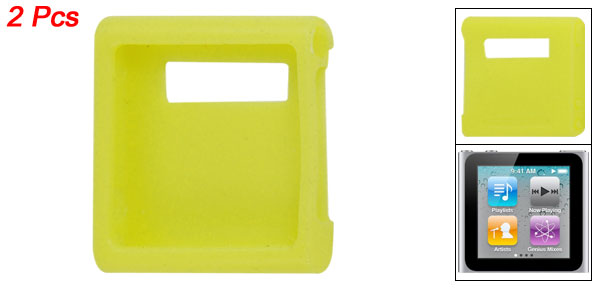2 Pcs Yellow Protective Silicone Skin Case for iPod Nano 6G