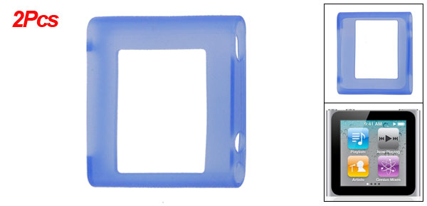 2 Pcs Baby Blue Soft Silicone Skin Case for iPod Nano 6G