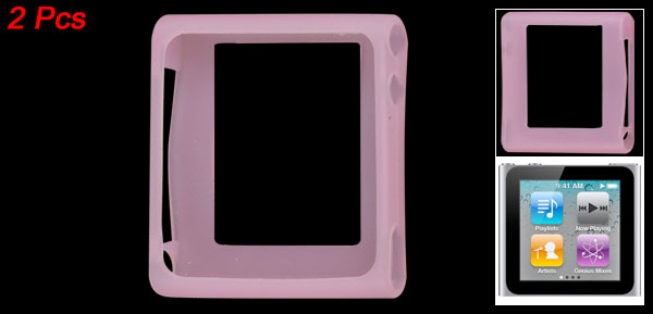 1 Pair Soft Silicone Skin Pink Protective Case for iPod Nano 6