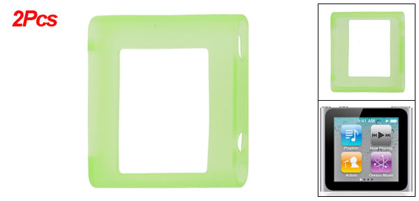 Pair Light Green Soft Silicone Skin Case for iPod Nano 6G