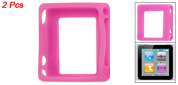 2 Pieces Fuchsia Silicone Skin Protective Case for iPod Nano 6G