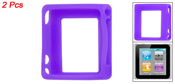 2 Pieces Purple Soft Silicone Skin Protective Case for iPod Nano 6