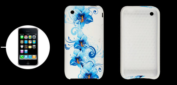 Blue Flower Print White Soft Plastic Case for iPhone 3G 3GS