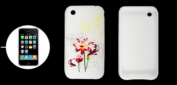 Lotus Print White Soft Plastic Case Protector for iPhone 3G 3GS