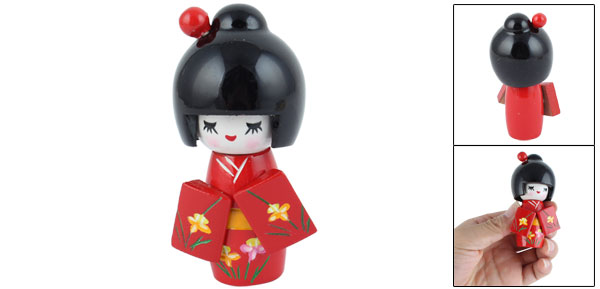 Floral Red Japanese Kimono Smiling Girl Wooden Kokeshi Doll Toy