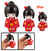 Red Japanese Kimono Lovely Girl Wooden Kokeshi Doll Toy 3 Pcs