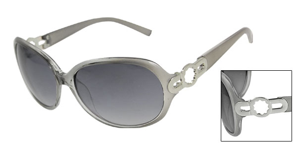Gray Clear Plastic Arms Rimmed Ellipse Lens Sunglasses for Lady