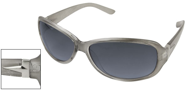 Gray Broad Temple Arms Full Frame Sunglasses for Lady