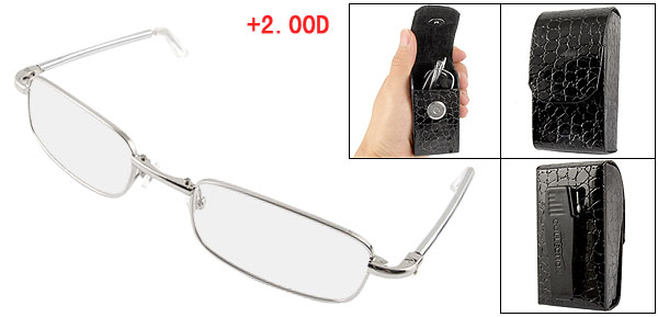 Lady Silver Tone Full Frame Foldable Reading Glasses +2.00D w Case