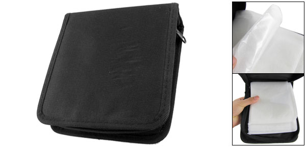 Black Nylon Zipper Up 40 Pcs Capacity CD DVD Bag Holder