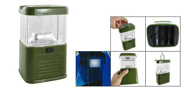 Green Clear Shell Hiking White 15 LEDs Light Lantern