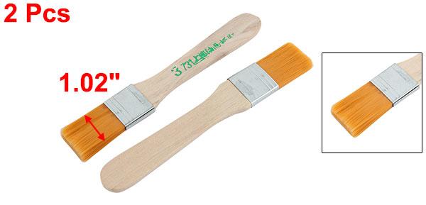 2 Pcs Wooden Handle Nylon Faux Hair Large Area Brushes New