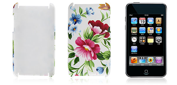 Red Blue Flowers Hard Plastic Back Case Cover for iPod Touch 2G