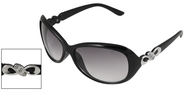 Gray Oval Lens Black Shiny Plastic Frame Sunglasses Ornament for Lady