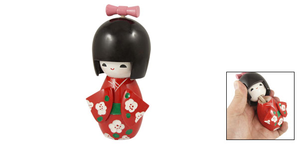 Wooden Toy Pink Bow Tie Smiling   Kokeshi Doll Toy for