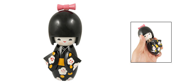 Desk Decoration Engraved Flower Pattern Black Kimono Kokeshi Doll
