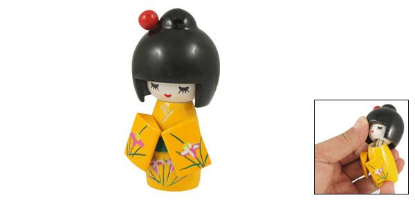 Home Office Wood Desk Decorative Flower Pattern Kimono Kokeshi Doll Yellow