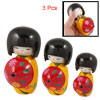 3 Pcs Yellow Kimono Floral Red Umbrella Wooden Japanese Kokeshi Doll