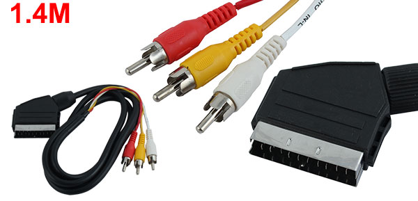 1.4M 20 Pin Scart Male to 3 RCA Male Connector AV Cable