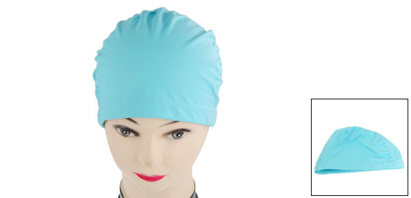 Blue Flexible Stretchy Swimming Cap Hat for Adult
