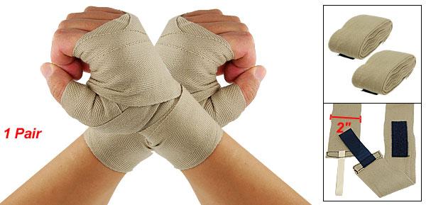 Pair Light Khaki Sports Boxing Bandage Hand Wraps Support