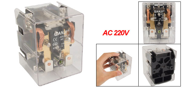 JQX-62F 2C AC 220V Coil 80A High Power Relay DPDT 2 NO 2 NC