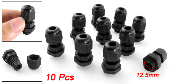 PG7 Black Plastic Waterproof Cable Glands Joints Connector 10 Pcs