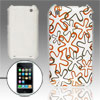 Hard Plastic IMD Gray Orange Flower Print Cover for iPhone 3G 3GS