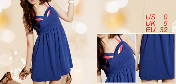 Ladies Blue Adjustable Strap Lining Mini Dress XS