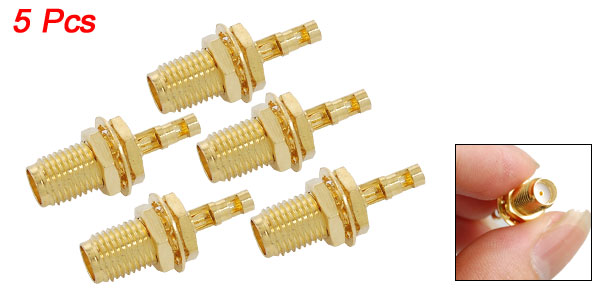 5pcs Double-Window SMA Female Nut Bulkhead Crimp RG174 RG316 RF Connector