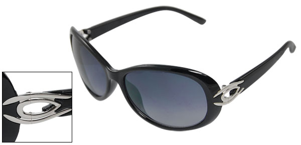 Ladies Black Full Frame Plastic Arms Colored Lens Sunglasses
