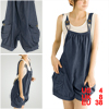 Ladies Blue Pocket Chambray Suspender Trousers Pants S