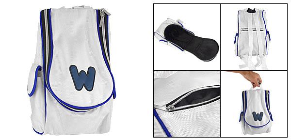 Wht Blue Zipper Carrying Backpack Bag for Nintendo Wii