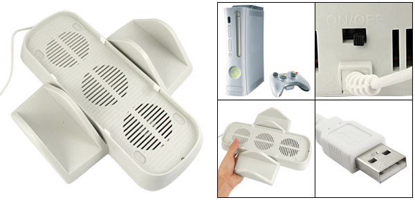 Built In Cooling Fan Vertical Disc Case Stand for Xbox 360