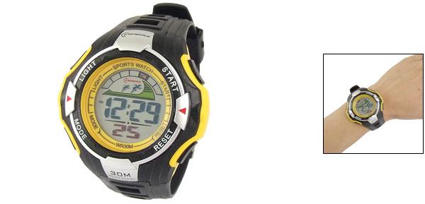 Men Yellow Black Plastic Band Coldlight LCD Sport Watch