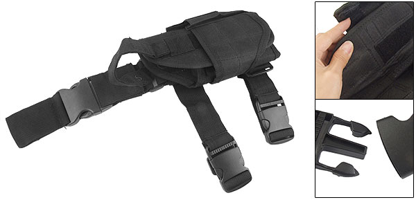 Side Release Hook Tactical Leg Thigh Holster Black for Wargame
