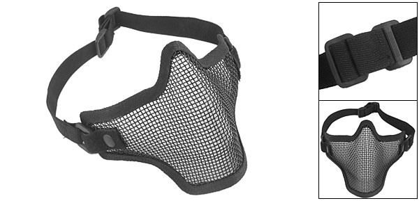 Tactical Black Metal Mesh Protective Mask for War Game