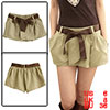 Ladies Elastic Loop Waist Mini Skort Skirt Shorts Khaki S