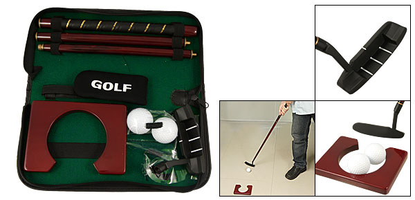 Black Faux Leather Bag White Golf Balls Club Putting Hole