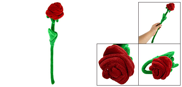 Flexible Artifical Soft Fluff Red Rose Green Leaves Valentine Gift
