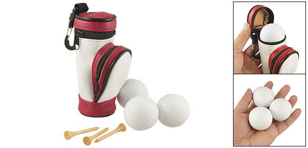 Mini Three White Golf Balls Wooden Tees Set w Faux Leather Pouch