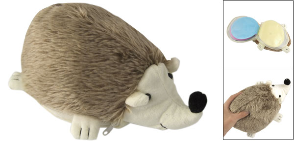 Light Brown Plush Hedgehogs Design CD Storage Bag