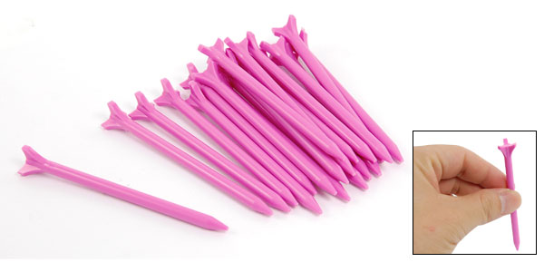 Fuchsia Lift Drag Triangle Head Plastic Golf Tees 25 Pcs