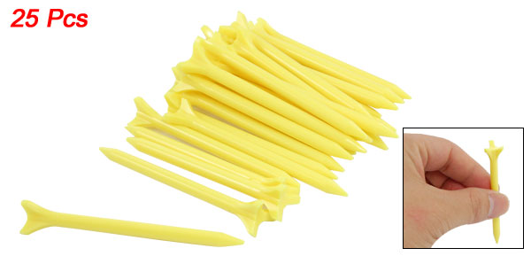 25 Pcs Plastic Triangle Head Zero Friction Golf Tees Yellow