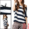 Lady Bat Sleeves Off Shoulder Dark Blue White Striped Shirt