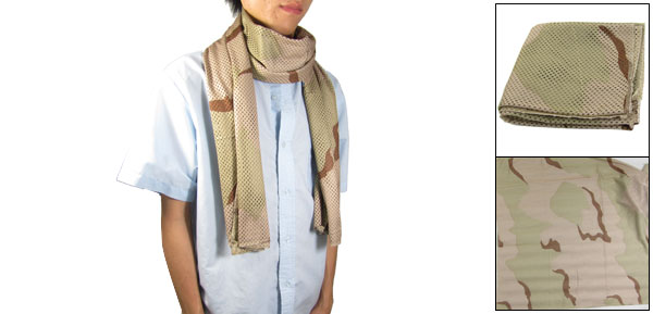 Man Camouflage Pattern Perforated Stitching Hem Scarf for War Game